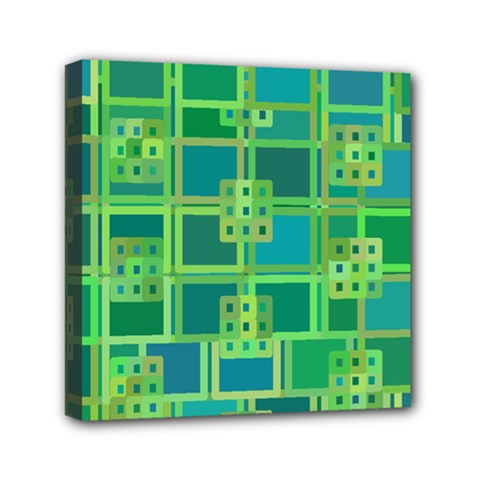 Green Abstract Geometric Mini Canvas 6  X 6  by Nexatart