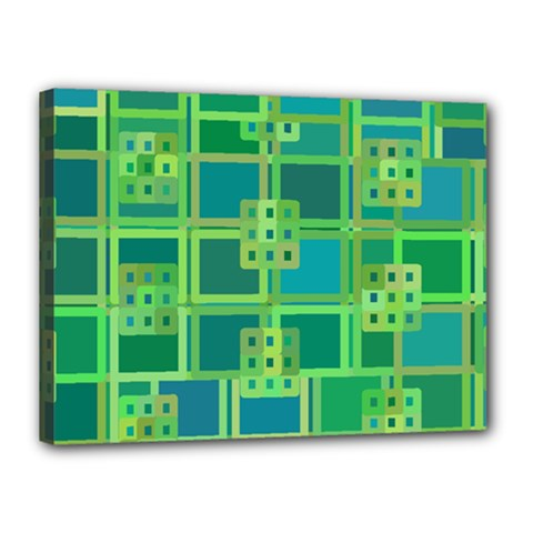 Green Abstract Geometric Canvas 16  X 12