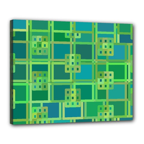 Green Abstract Geometric Canvas 20  X 16  by Nexatart