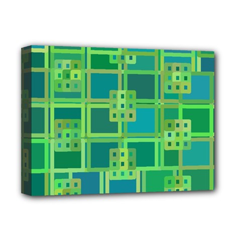 Green Abstract Geometric Deluxe Canvas 16  X 12