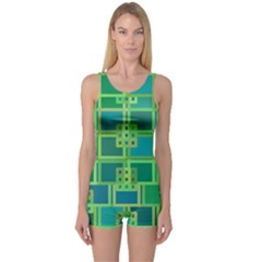 Green Abstract Geometric One Piece Boyleg Swimsuit