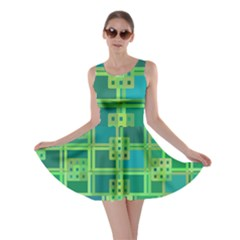 Green Abstract Geometric Skater Dress