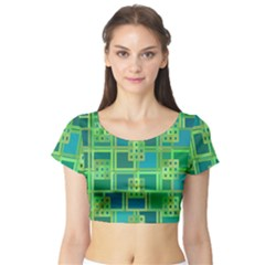 Green Abstract Geometric Short Sleeve Crop Top (tight Fit)