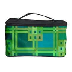Green Abstract Geometric Cosmetic Storage Case by Nexatart