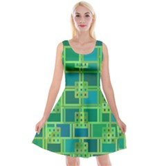 Green Abstract Geometric Reversible Velvet Sleeveless Dress