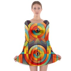 Abstract Pattern Background Long Sleeve Skater Dress