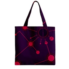 Abstract Lines Radiate Planets Web Zipper Grocery Tote Bag