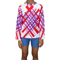 Chaos Bright Gradient Red Blue Kids  Long Sleeve Swimwear by Nexatart