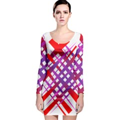 Chaos Bright Gradient Red Blue Long Sleeve Bodycon Dress