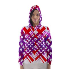 Chaos Bright Gradient Red Blue Hooded Wind Breaker (women)