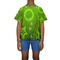Art About Ball Abstract Colorful Kids  Short Sleeve Swimwear