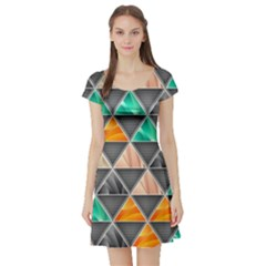 Abstract Geometric Triangle Shape Short Sleeve Skater Dress