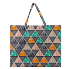 Abstract Geometric Triangle Shape Zipper Large Tote Bag