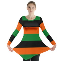 Color Green Orange Black Long Sleeve Tunic