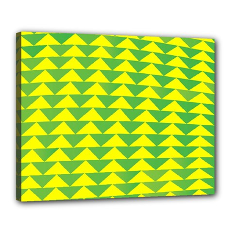 Arrow Triangle Green Yellow Canvas 20  X 16  by Mariart