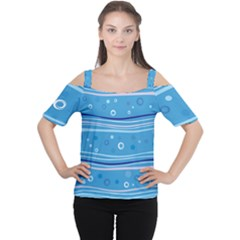 Blue Circle Line Waves Women s Cutout Shoulder Tee
