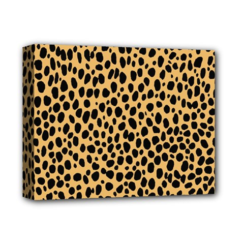 Cheetah Skin Spor Polka Dot Brown Black Dalmantion Deluxe Canvas 14  X 11  by Mariart