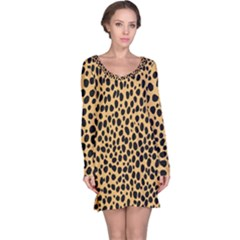 Cheetah Skin Spor Polka Dot Brown Black Dalmantion Long Sleeve Nightdress by Mariart