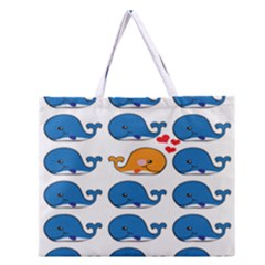 Fish Animals Whale Blue Orange Love Zipper Large Tote Bag by Mariart