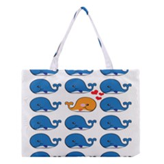 Fish Animals Whale Blue Orange Love Medium Tote Bag by Mariart