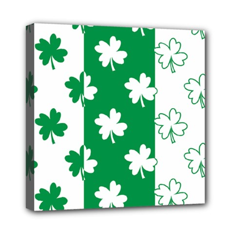 Flower Green Shamrock White Mini Canvas 8  X 8  by Mariart