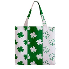 Flower Green Shamrock White Zipper Grocery Tote Bag by Mariart