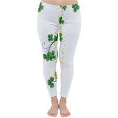 Flower Shamrock Green Gold Classic Winter Leggings by Mariart