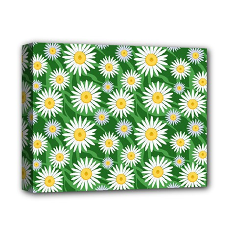 Flower Sunflower Yellow Green Leaf White Deluxe Canvas 14  X 11  by Mariart
