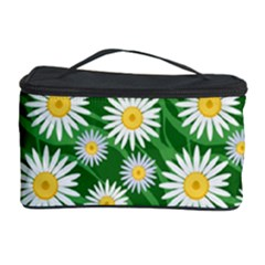 Flower Sunflower Yellow Green Leaf White Cosmetic Storage Case by Mariart