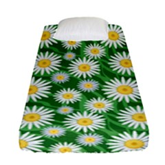 Flower Sunflower Yellow Green Leaf White Fitted Sheet (single Size) by Mariart