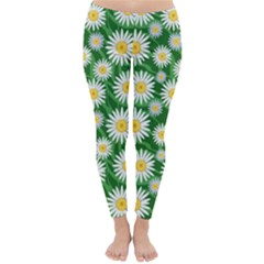 Flower Sunflower Yellow Green Leaf White Classic Winter Leggings by Mariart