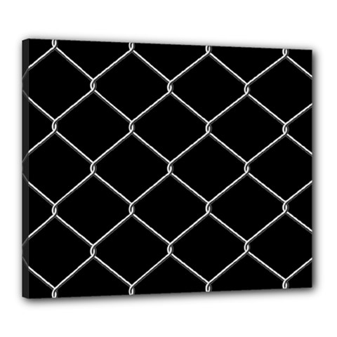 Iron Wire White Black Canvas 24  X 20  by Mariart