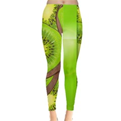 Fruit Slice Kiwi Green Leggings  by Mariart