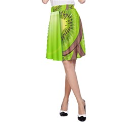 Fruit Slice Kiwi Green A Line Skirt by Mariart