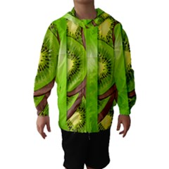 Fruit Slice Kiwi Green Hooded Wind Breaker (kids) by Mariart