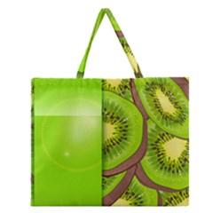 Fruit Slice Kiwi Green Zipper Large Tote Bag by Mariart