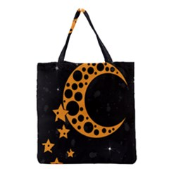 Moon Star Space Orange Black Light Night Circle Polka Grocery Tote Bag by Mariart