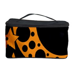 Moon Star Space Orange Black Light Night Circle Polka Cosmetic Storage Case by Mariart