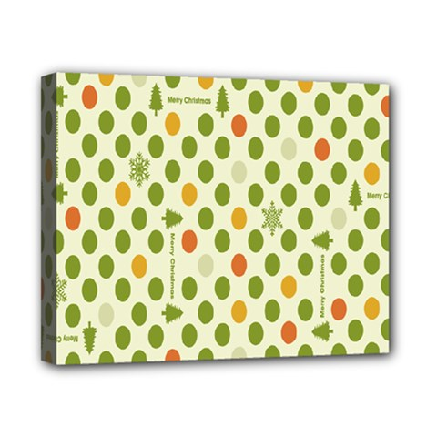 Merry Christmas Polka Dot Circle Snow Tree Green Orange Red Gray Canvas 10  X 8  by Mariart