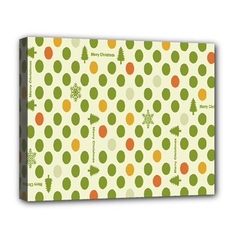 Merry Christmas Polka Dot Circle Snow Tree Green Orange Red Gray Deluxe Canvas 20  X 16   by Mariart