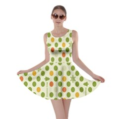 Merry Christmas Polka Dot Circle Snow Tree Green Orange Red Gray Skater Dress by Mariart