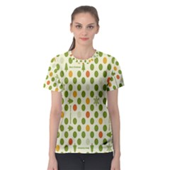 Merry Christmas Polka Dot Circle Snow Tree Green Orange Red Gray Women s Sport Mesh Tee by Mariart