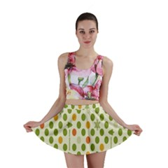 Merry Christmas Polka Dot Circle Snow Tree Green Orange Red Gray Mini Skirt by Mariart