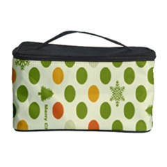 Merry Christmas Polka Dot Circle Snow Tree Green Orange Red Gray Cosmetic Storage Case by Mariart