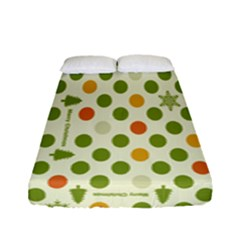 Merry Christmas Polka Dot Circle Snow Tree Green Orange Red Gray Fitted Sheet (full/ Double Size) by Mariart