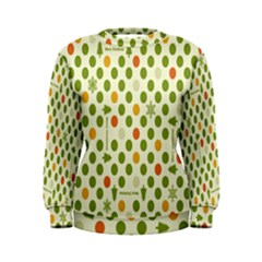 Merry Christmas Polka Dot Circle Snow Tree Green Orange Red Gray Women s Sweatshirt by Mariart