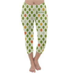 Merry Christmas Polka Dot Circle Snow Tree Green Orange Red Gray Capri Winter Leggings  by Mariart