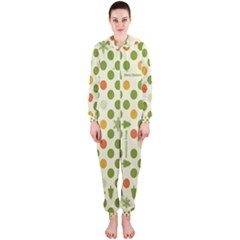 Merry Christmas Polka Dot Circle Snow Tree Green Orange Red Gray Hooded Jumpsuit (ladies)  by Mariart
