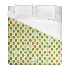 Merry Christmas Polka Dot Circle Snow Tree Green Orange Red Gray Duvet Cover (full/ Double Size) by Mariart