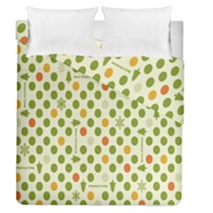Merry Christmas Polka Dot Circle Snow Tree Green Orange Red Gray Duvet Cover Double Side (queen Size) by Mariart